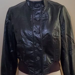 THE LIMITED Gray fax leather short jacket Medium